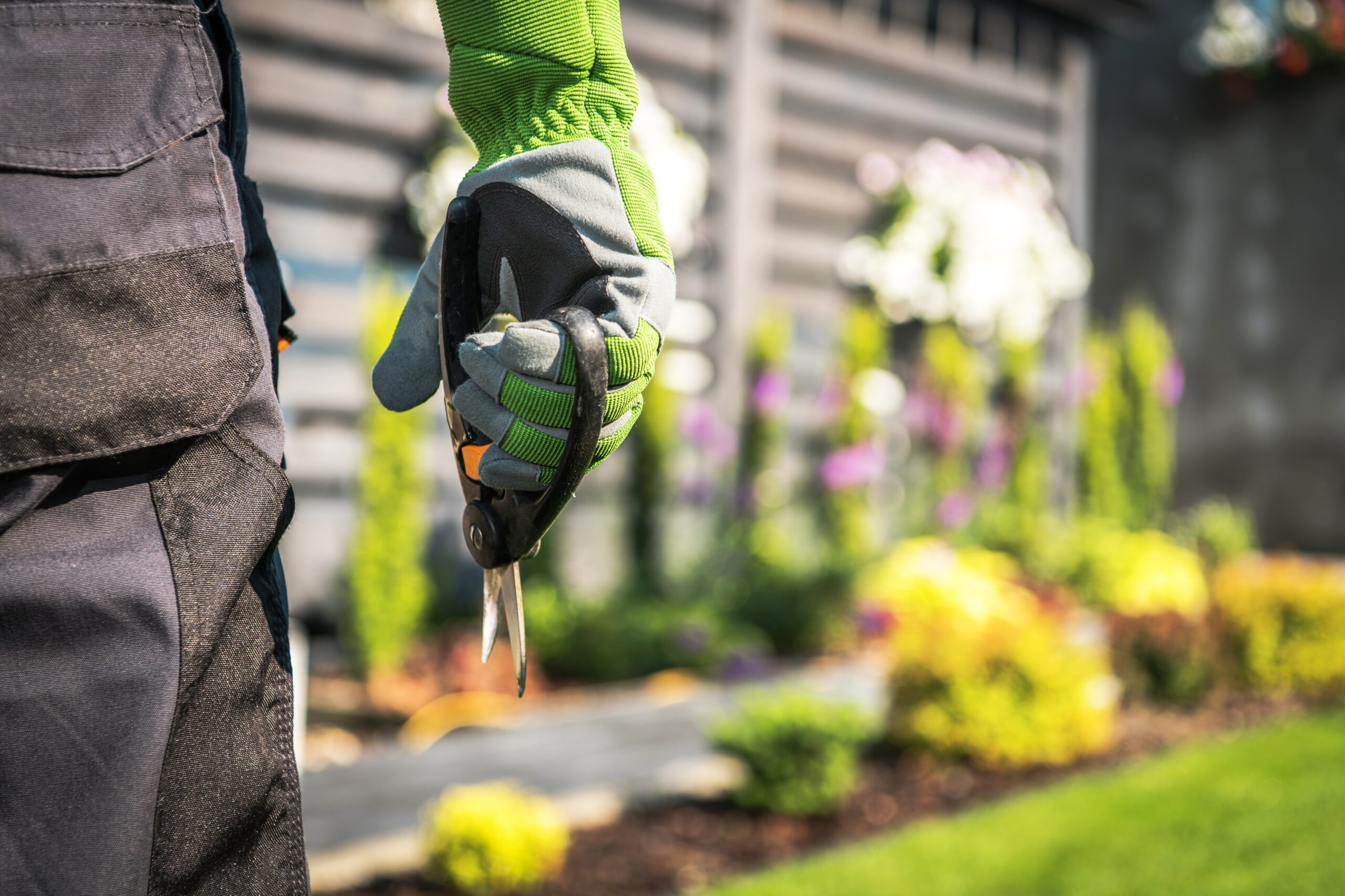 Gardener with Scissors Closeup Photo. Gardening and Landscaping Industry Theme.